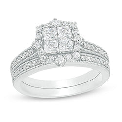 1 Cttw Princess-Cut Quad Diamond Frame Vintage-Style Engagement Wedding Ring Bridal Set in 10K White Gold (IJ/12)