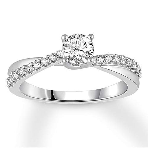 0.75 Cttw Round Diamond Crossover Solitaire Promise Ring In 10k White Gold (I/I2)