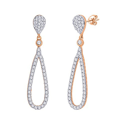 EternalDia IGI Certified Tear Drop Round Diamond Accent Dangling Earrings In 10K Rose Gold (0.4 Cttw) - EternalDia