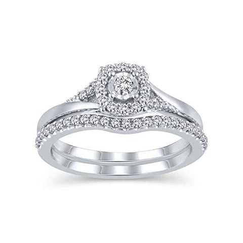 1/3 Cttw Diamond Frame Bridal Halo Engagement Ring Set in 10K White Solid Gold Matching Band (IJ/13)