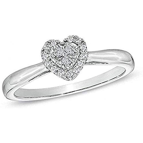 1/10 Carat Diamond Heart Ring In 10K White Gold (0.10 Cttw, I-J Color, I2-I3 Clarity) Heart Wedding Promise Ring