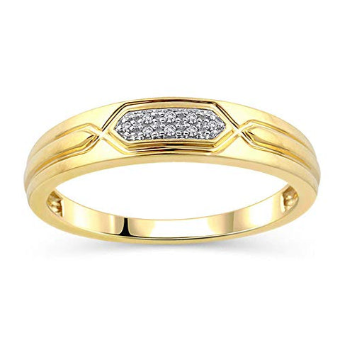 0.034 Cttw Diamond Accent Men's Wedding Band in 10K Yellow Gold (I-J/I2I3)