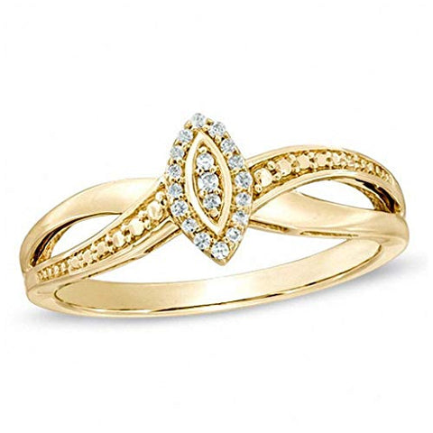 Round Cut White Natural Diamond Accent Marquise Frame Promise Ring in 10K Solid Yellow Gold