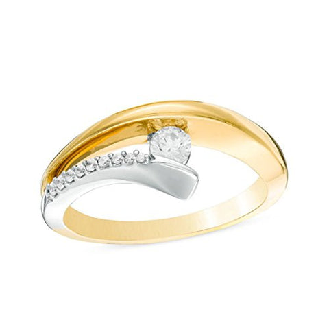 1/4 Cttw Round Diamond Open Asymmetrical Bypass Ring in 10K Two-Tone Gold(IJ/13)