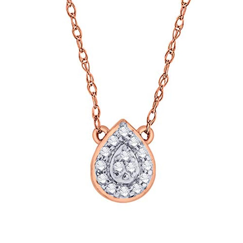 EternalDia IGI Certified Pear Drop Shape Halo Diamond Accent Frame Pendant Necklace in 10kt Rose Gold (0.06 Cttw) - EternalDia