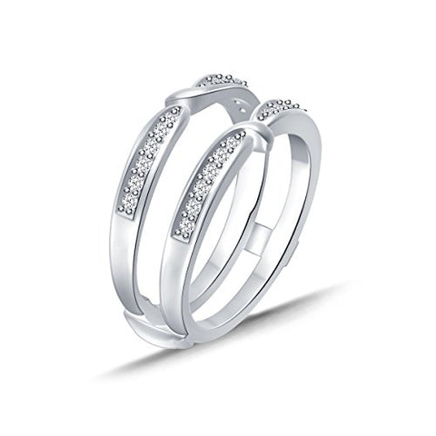 EternalDia 0.25 cttw Diamond Pinched Center Classic Style Enhancer Ring Guard In 10k White Gold (IJ/I2I3) - EternalDia