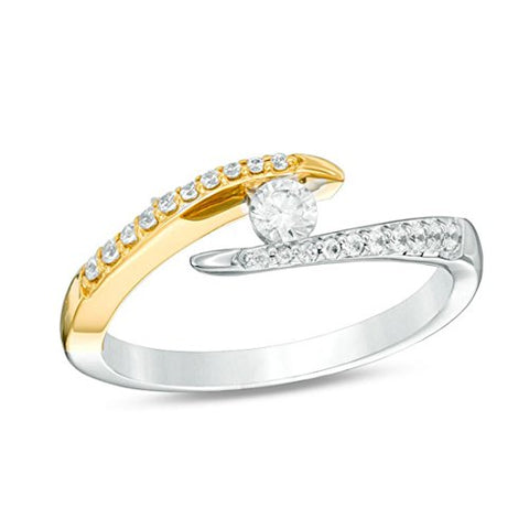 1/3 Cttw Round Diamond Twist Bypass Engagement Open Ring in 10K Two-Tone Gold (IJ/13)
