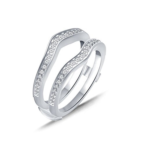 EternalDia 0.39 Cttw Diamond Chevron Style Enhancer Ring Guard In 10k White Gold (IJ/I2-13) - EternalDia