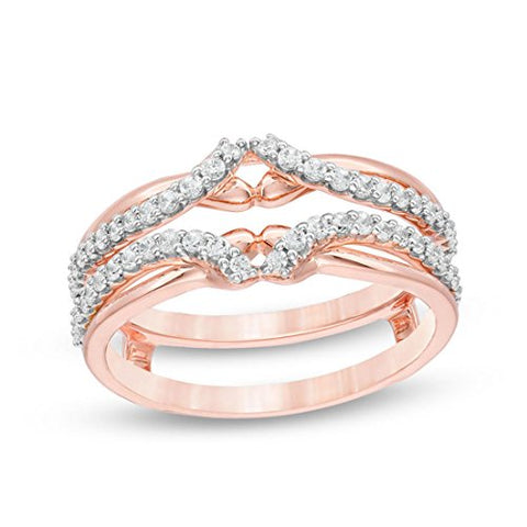 3/8 Cttw Diamond Anniversary Wedding Band Guard Wrap Enhancer Solitaire Ring In 10K Rose Gold (IJ/12)
