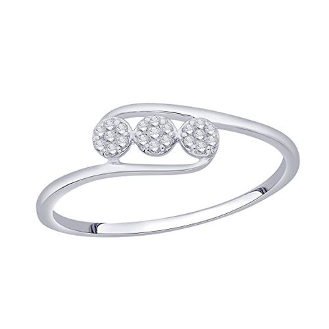 EternalDia IGI Certified Diamond Accent Three Flower Bypass Ring in 10K White Gold (0.08 Cttw) - EternalDia
