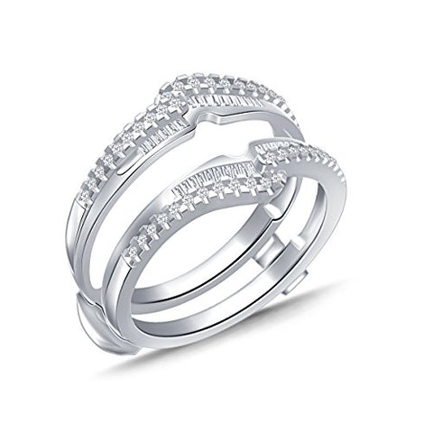 EternalDia 0.38 Ct Round & Baguette Diamond Bypass Knot Chevron Style Enhancer Ring Guard In 10k White Gold (IJ/I2I3) - EternalDia