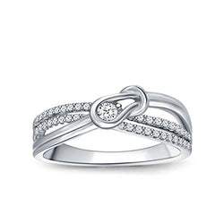 EternalDia 1/8 cttw Diamond Love Knot Promise Ring in Sterling Silver (IJ/I2-I3) - EternalDia