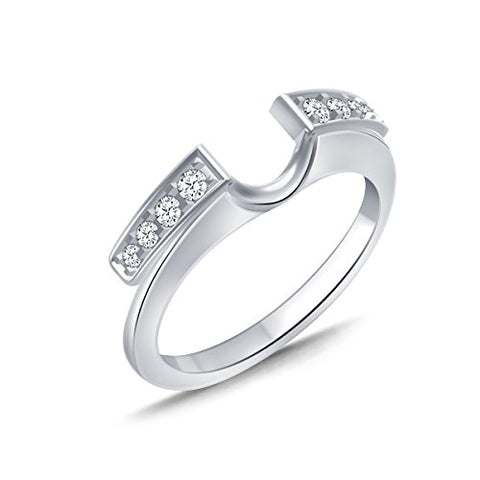 EternalDia 1/4 cttw Diamond Solitaire Enhancer Guard Ring in 10K White Gold (IJ/I2I3) - EternalDia