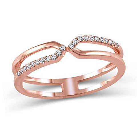 1/10 Cttw Diamond Crossover Split Shank Ring in 10K Solid Rose Gold (IJ/I2I3)