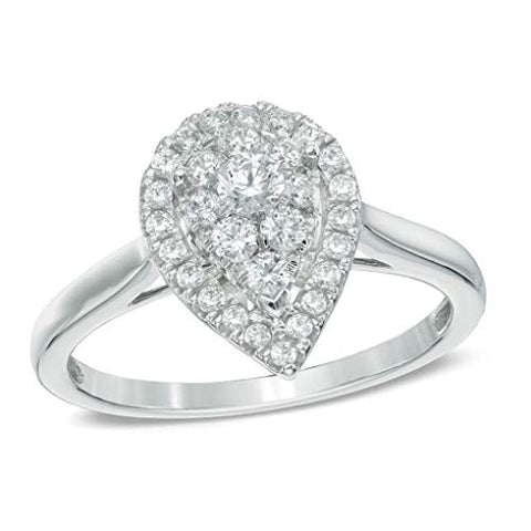 1/2 cttw Round Cut White Natural Diamond Pear Cluster Frame Ring in 14K Solid White Gold
