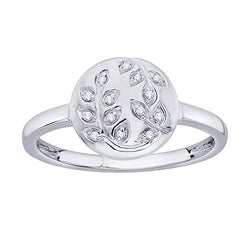 EternalDia IGI Certified Diamond Accent Vine Leaf Engraved Circle Disc Fashion Ring in 10K White Gold (0.04 Cttw) - EternalDia