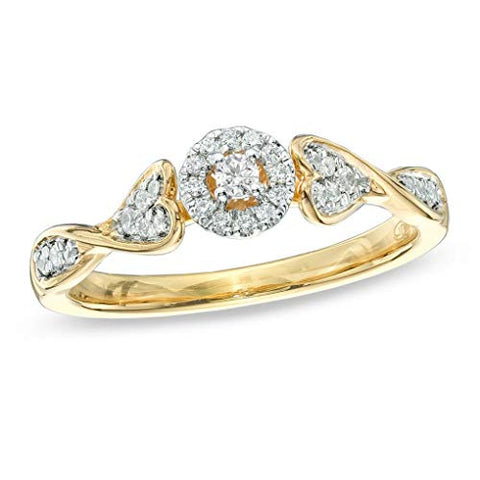 1/5 cttw Round Cut White Natural Diamond Promise Ring with Heart Accents in 10K Solid Yellow Gold