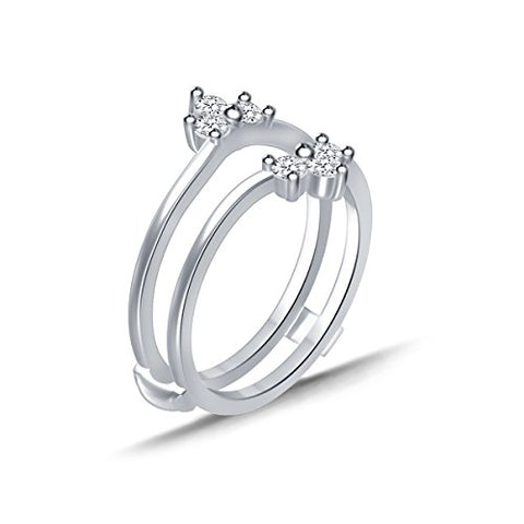 EternalDia 0.33 Cttw Diamond Chevron Style Three Stone Enhancer Ring Guard In 10k White Gold (IJ/I2I3) - EternalDia
