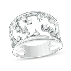1/2 Cttw Diamond Wave Open-Frame Ring in Sterling Silver (IJ/13)