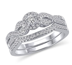 EternalDia 3/8 Ct.tw. Diamond Halo Twisted Engagement Bridal Ring Set in 14K White Gold (HI/I2) - EternalDia