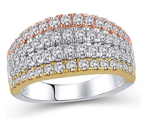 1 Cttw Diamond Multi-Row Anniversary Band Ring in 10K Tri-Tone Gold (IJ,12-13)