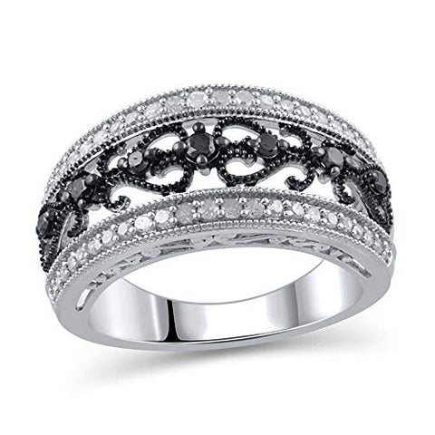 1/2 CT. T.W. Enhanced Black and White Diamond Vintage-Style Anniversary Band in Sterling Silver (I-J/I3)