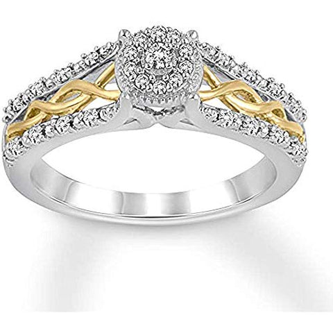 1/5 Carat Round Diamond Cluster Twisted Ring In 10K Two Tone Gold(0.20 Cttw, Color I, Clarity I3) Cluster Ring