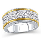 1-1/2 Cttw Diamond Multi-Row Vintage-Style Eternity Band Ring in 10K Two-Tone Gold (IJ/12-13)