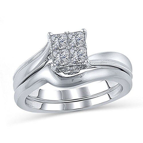 1/2 Cttw Quad Princess-Cut Swirl Diamond Twisted Engagement Bridal Set Ring in 10K White Gold (IJ/12)