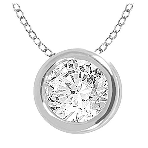 "EternalDia 10k Round Diamond Solitaire Pendant Necklace (0.30cttw, IJ, I2/I3) 18"" - EternalDia"