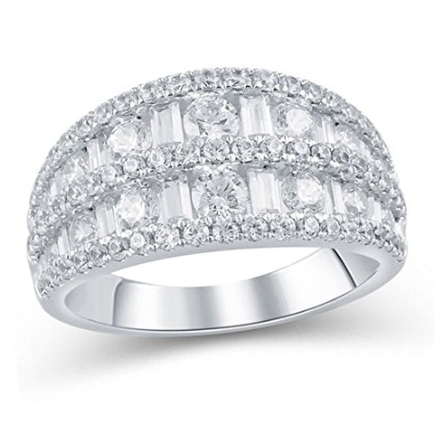 2 cttw Baguette and Round Diamond Five Row Ring Anniversary in 14K White Gold(IJ/12-13)