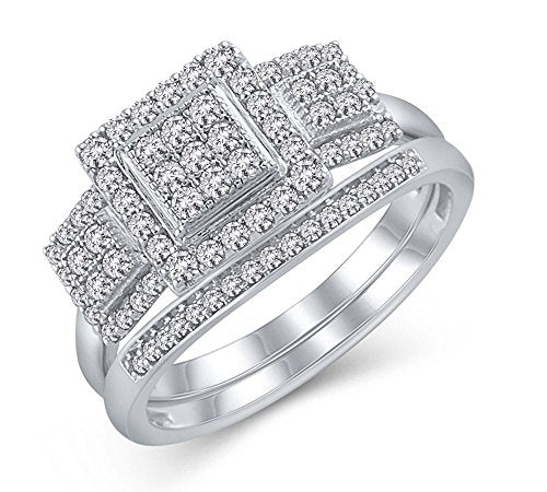 EternalDia 1/2 Cttw Diamond Square 3-Stone Halo Composite Engagement Bridal Set in 925 Sterling Silver (IJ/I3) - EternalDia