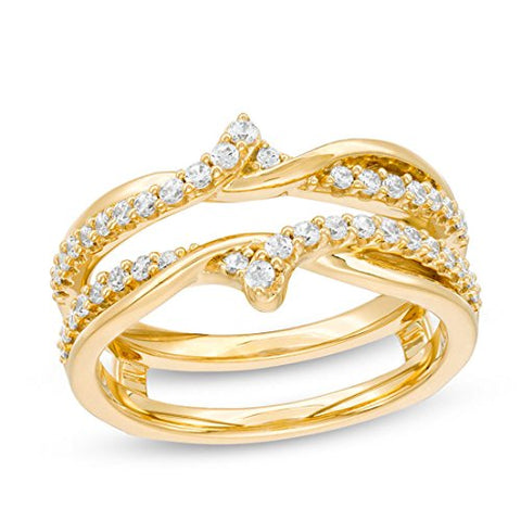 3/8 Cttw Diamond Crossover Solitaire Anniversary Wedding Band Enhancer Wrap Guard Ring 10K Yellow Gold (IJ/12)