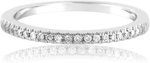 14k White Gold 0.34 Cttw Diamond Half Eternity Ring (0.34 Cttw, I-J Color, I2-I3 Clarity) Wedding Band Stackable Ring