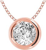 EternalDia 10k Round Diamond Solitaire Pendant Necklace (0.30cttw, IJ, I2/I3) 18""