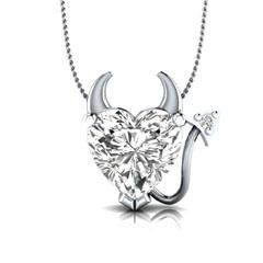 EternalDia Simulated Diamond Devil Heart Pendant Necklace with 18 Inch Chain - EternalDia