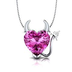 EternalDia Pink Sapphire Devil Heart Pendant Necklace with 18 Inch Chain - EternalDia