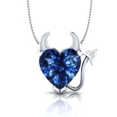 EternalDia Blue Sapphire Devil Heart Pendant Necklace - EternalDia