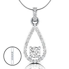 EternalDia 1.52 Ct Round Cut D/VVS1 Diamond Drop Pendant Necklace with 18 Inch Chain - EternalDia