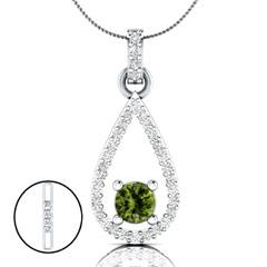 EternalDia 1.52 Ct Peridot & D/VVS1 Diamond Drop Pendant Necklace with 18 Inch Chain - EternalDia