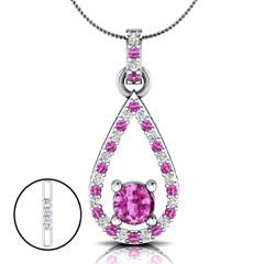 EternalDia 1.52 Ct Pink Sapphire & Diamond Drop Pendant Necklace with 18 Inch Chain - EternalDia