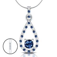 EternalDia 1.52 Ct Blue Sapphire & Diamond Drop Pendant Necklace with 18 Inch Chain - EternalDia