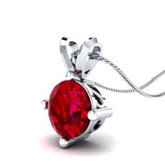 EternalDia 3/4 Ct Red Garnet Solitaire Pendant Necklace Chain - EternalDia