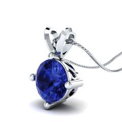 EternalDia 3/4 Ct Blue Sapphire Solitaire Pendant Necklace Chain - EternalDia