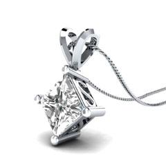 EternalDia 1.00 Ct Princess Cut Solitaire Pendant Necklace with Chain - EternalDia