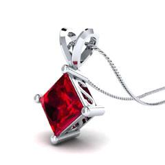 EternalDia 1.00 Ct Princess Cut Red Garnet Solitaire Pendant Necklace - EternalDia