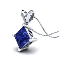 EternalDia 1.00 Ct Princess Cut Sapphire Solitaire Pendant Necklace - EternalDia