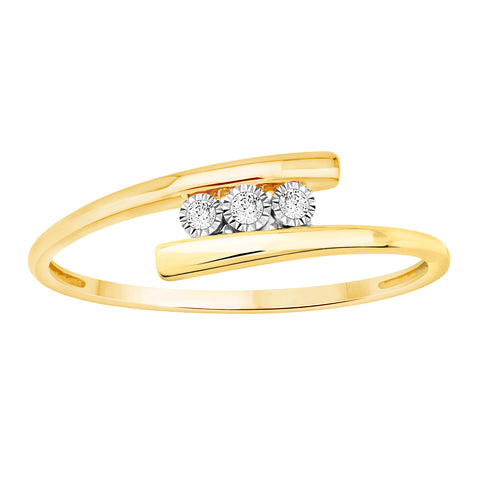 EternalDia Solid 10k Gold White Natural Diamond Accent Three Stone Tension Style Band Ring (0.03 Cttw) - EternalDia