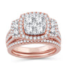 EternalDia 2.00 CT WT Diamond Cluster Cushion Halo Bridal Set 14kt Rose Gold (IJ/I2I3) - EternalDia