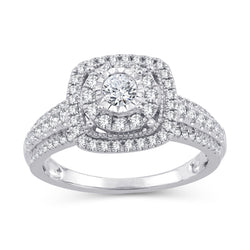 EternalDia 2/3 Cttw Diamond Double Halo Frame Cathedral Engagement Rings In 10kt White Gold (IJ/I2I3) - EternalDia